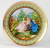 Decorative plate  with picture by Watteau, abundant ornaments and gold decor